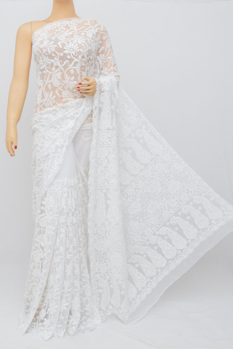 White Colour Allover Heavy Palla Hand Embroidered Lucknowi Chikankari Saree (With Blouse - Georgette) MY250513