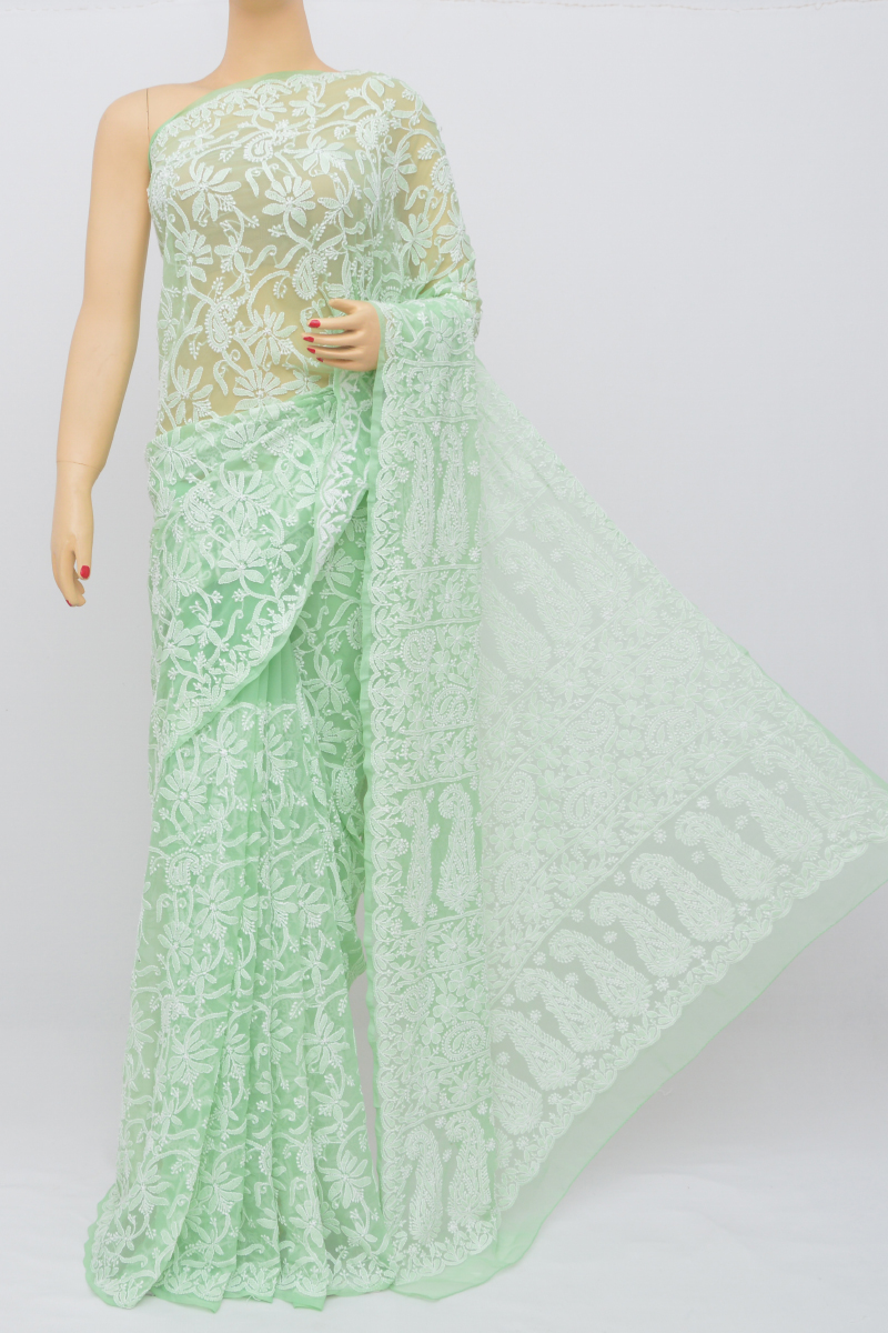 Lightgreen Color Allover Hand Embroidered Lucknowi Chikankari Saree (With Blouse - Georgette) SM250514