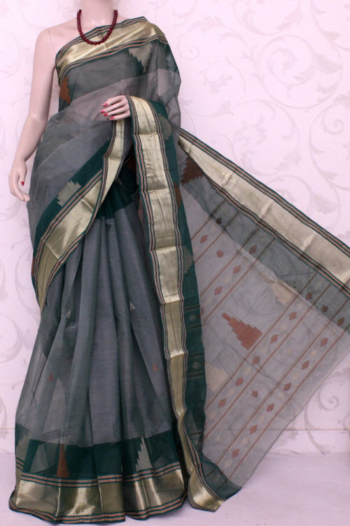 Bengal Handloom Tant Cotton Saree (With Blouse) Temple Border13108