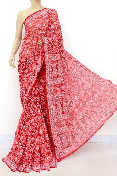 Red Hand Embroidered Allover Lucknowi Chikankari Saree (Georgette-With Blouse) 14699