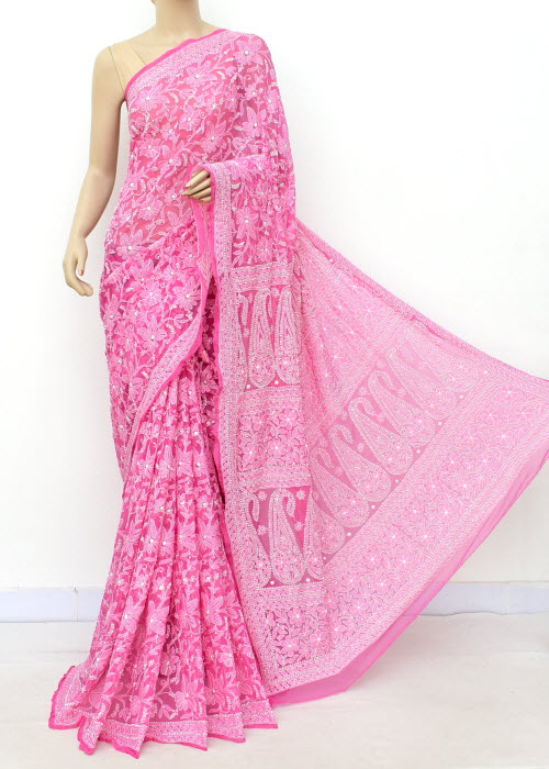 Pink Hand Embroidered Allover Jaal Lucknowi  Chikankari Saree (Georgette-With Blouse) 14700
