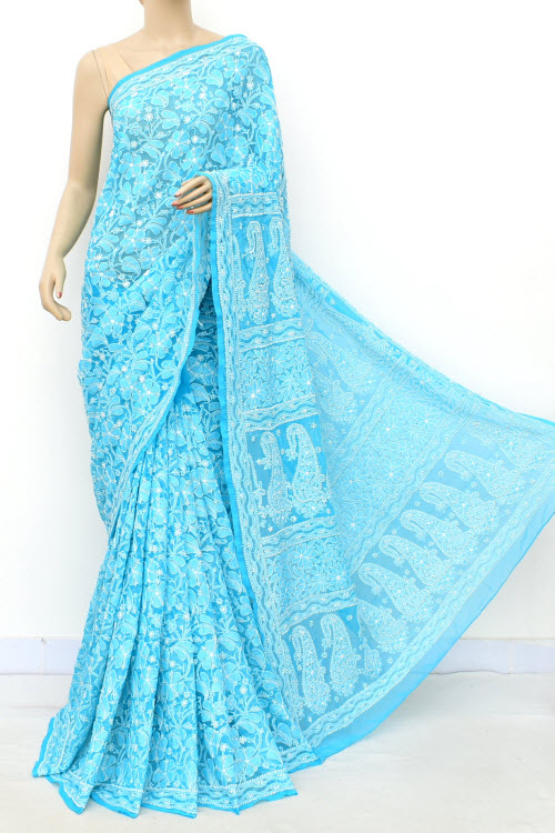 Blue Hand Embroidered Allover Jaal Lucknowi Chikankari Saree (Georgette-With Blouse) 14702