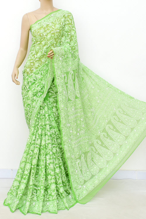 Green Hand Embroidered Allover Jaal Lucknowi Chikankari Saree (Georgette-With Blouse) 14931