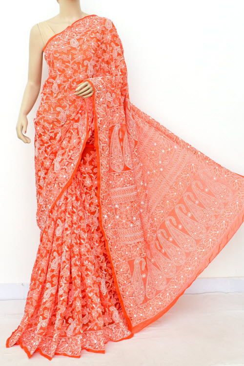 Orange Hand Embroidered Allover Jaal Lucknowi Chikankari Saree (Georgette-With Blouse) 14932