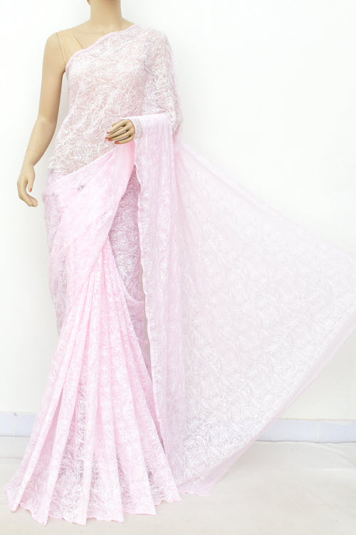Lightpink Hand Embroidered Allover Tepchi Lucknowi Chikankari Saree (Georgette-With Blouse) 14933