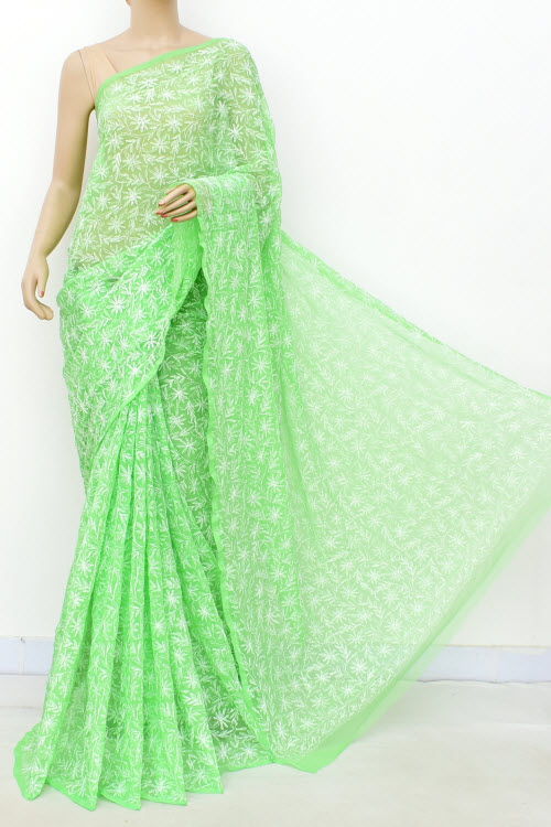 Lightgreen Hand Embroidered Allover Tepchi Lucknowi Chikankari Saree (Georgette-With Blouse) 14935