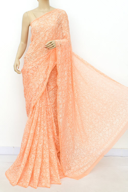 Orange Hand Embroidered Allover Tepchi Lucknowi Chikankari Saree (Georgette-With Blouse) 14936