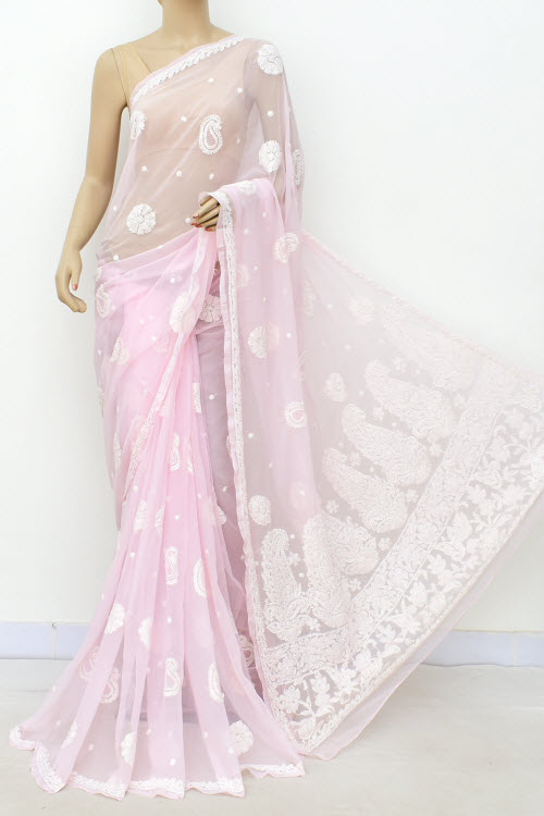 Lightpink Hand Embroidered Allover Booti Lucknowi Chikankari Saree (Georgette-With Blouse) 14938