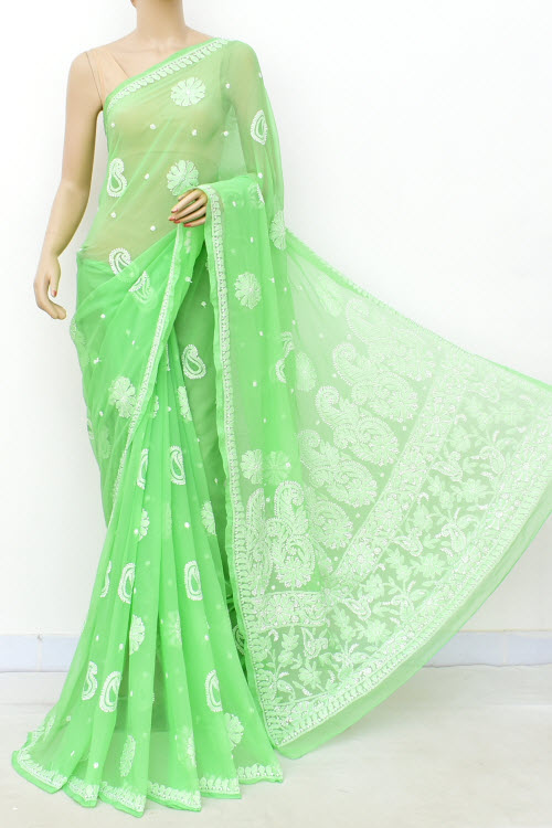Green Hand Embroidered Allover Booti Lucknowi Chikankari Saree (Georgette-With Blouse) 14939