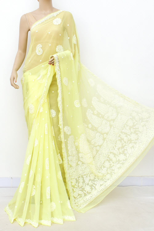Lightyellow Hand Embroidered Allover Booti Lucknowi Chikankari Saree (Georgette-With Blouse) 14933
