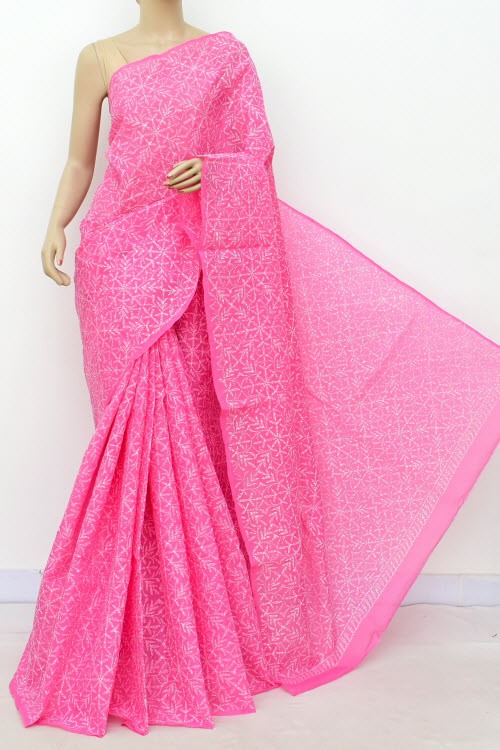Pink Allover Cotton Tepchi Hand Embroidered Lucknowi Chikankari Saree (Cotton-With Blouse) 14941