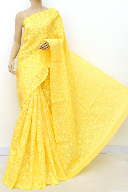 Yellow Allover Cotton Tepchi Hand Embroidered Lucknowi Chikankari Saree (Cotton-With Blouse) 14944