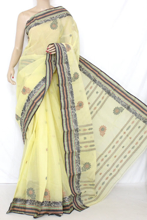 Lemon Yellow Handwoven Bengal Tant Cotton Saree (With Blouse) 13138