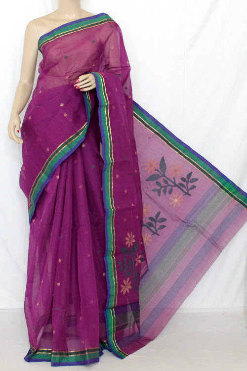 Magenta Handwoven Bengal Handloom Tant Cotton Saree (Without Blouse) Jamdani 13233