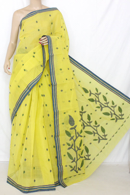 Lemon Yellow Bengal Handloom Tant Cotton Saree (Without Blouse) Jamdani 13235
