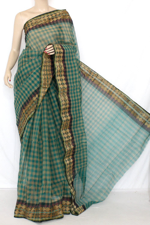 Green & Fawn Handwoven Bengal Tant Cotton Saree (Without Blouse) 13259