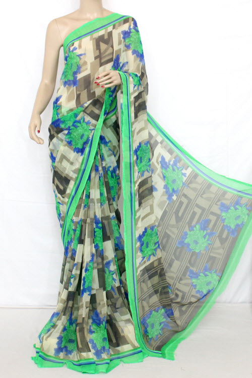 Printed Dx Quality Sweet Chiffon Saree (With Blouse) 13282