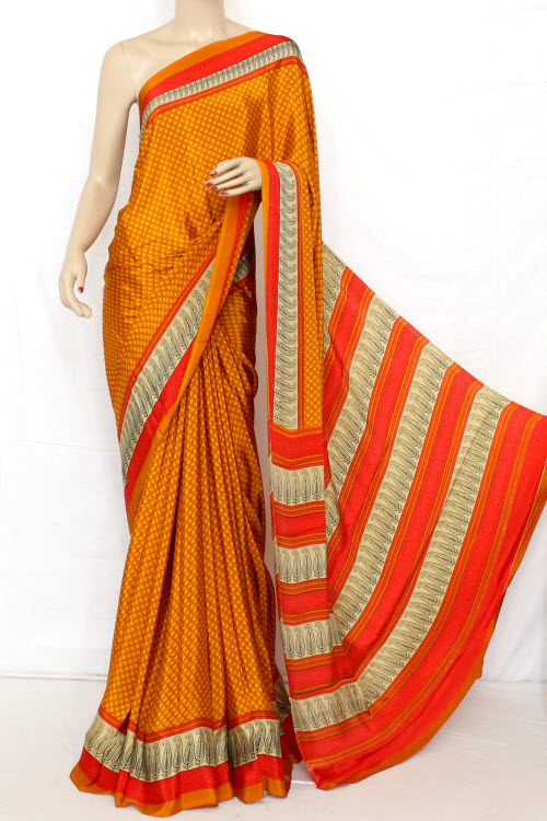 Printed Fine Quality Crepe Silk Saree (satin Border With Blouse) 13285