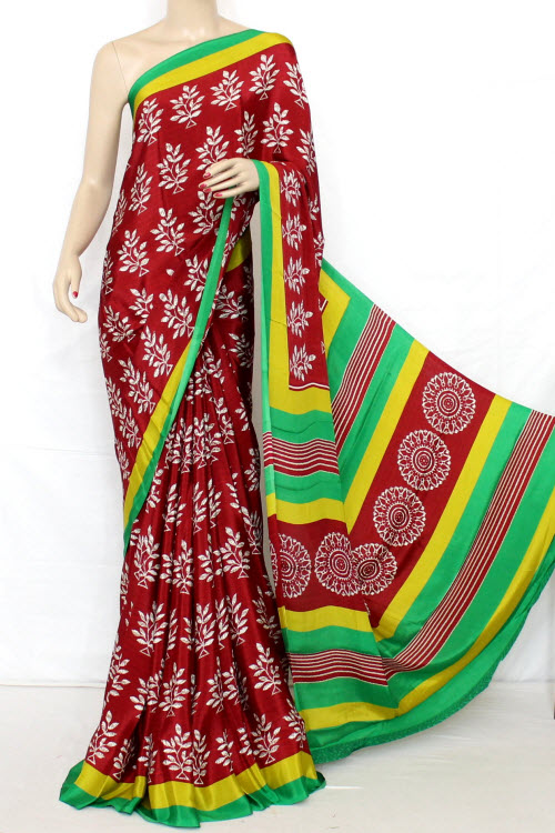 Printed Fine Quality Crepe Silk Saree (satin Border With Blouse) 13286