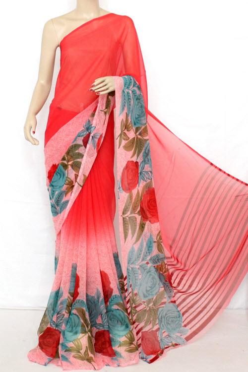 Printed Dx Quality Faux Georgette Saree (with Blouse) 13287