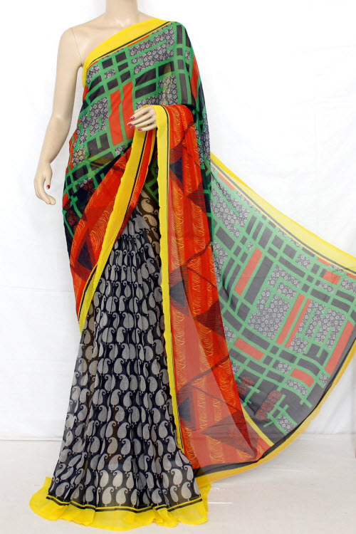 Printed Dx Quality Sweet Chiffon Saree (With Blouse) 13288
