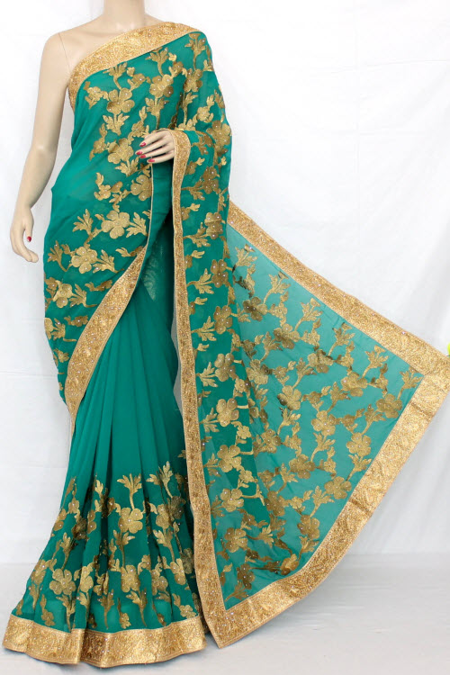 Exclusive Embroidered Saree (With Blouse) 13291