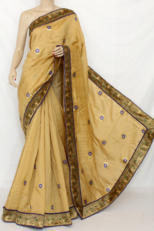 Exclusive Embroidered Saree (With Contrast Blouse) 13295
