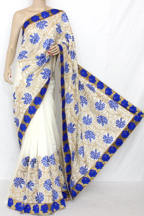 White and Blue Exclusive Embroidered Saree (With Blouse) 13297