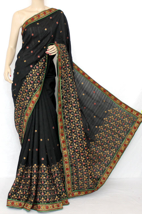 Black Exclusive Embroidered Saree (With Blouse) 13298