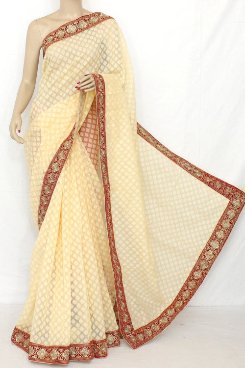 Fawn Exclusive Embroidered Saree On Net Fabric (with  Contrast Blouse) 13302