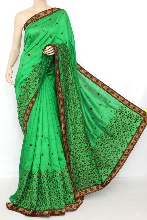 Green Exclusive Embroidered Saree on Net Fabric (With Blouse) 13303