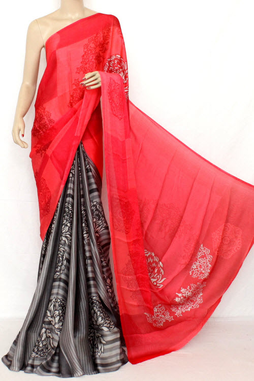 Dark Peach Printed Fine Quality Crepe Georgette Saree (With Blouse) 13305