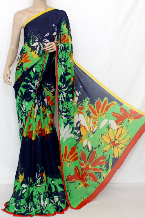 Nevy Blue Printed Fine Quality Wrinkle Georgette Saree (With Blouse) 13306