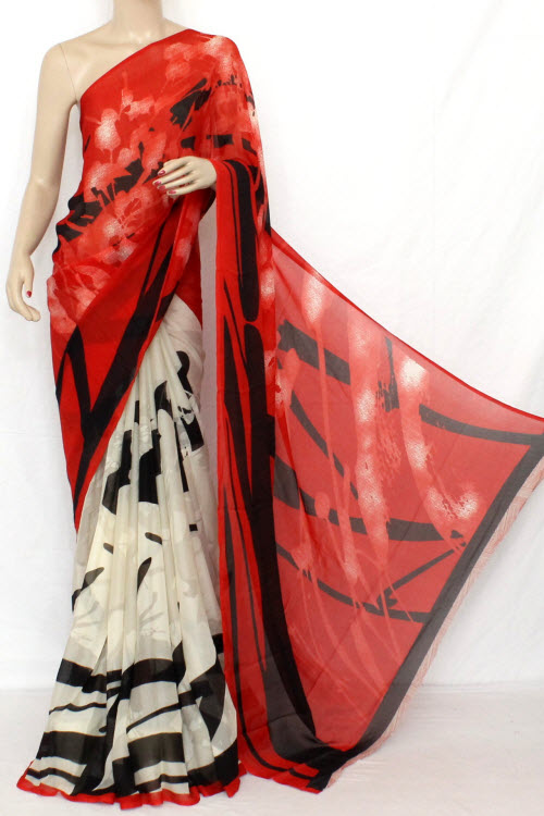 Off White - Red Printed Fine Quality Wrinkle Georgette Saree (With Blouse) 13307