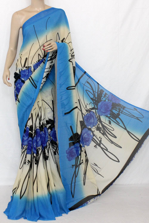 Blue - Off White Printed Fine Quality Wrinkle Georgette Saree (With Blouse) 13310