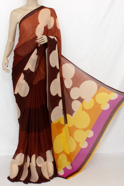 Blue - Off White Printed Fine Quality Wrinkle Georgette Saree (With Blouse) 13311