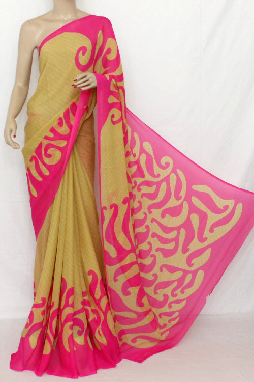 Fawn - Pink Printed Fine Quality Wrinkle Georgette Saree (With Blouse) 13313