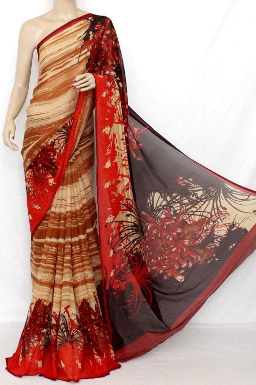 Maroon - Brown Printed Fine Quality Wrinkle Georgette Saree (with Blouse) 13314