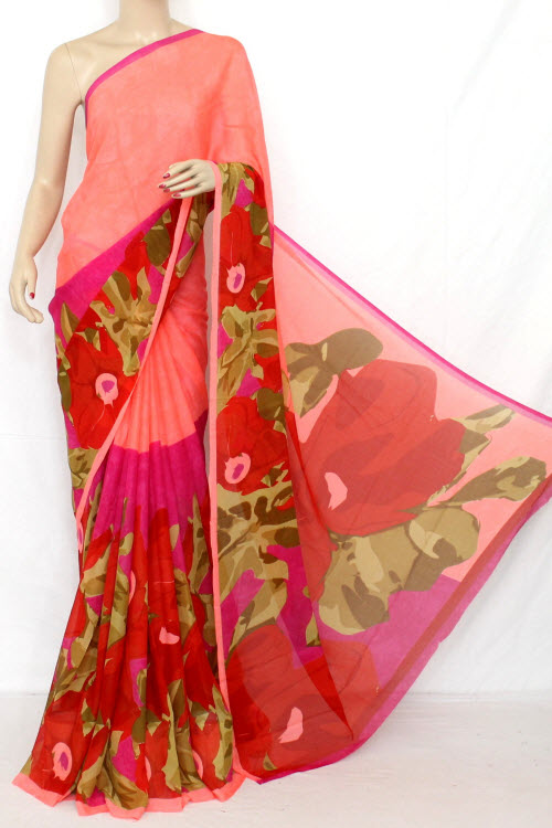 Dark Peach Printed Fine Quality Georgette Saree (With Blouse) 13316