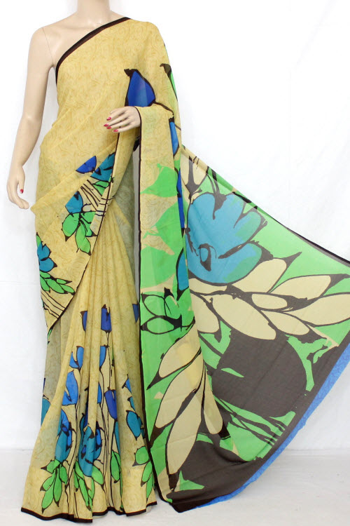 Fawn - Green Printed Fine Quality Georgette Saree (With Blouse) 13317