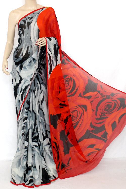 Grey - Red Printed Fine Quality Georgette Saree (With Blouse) 13319