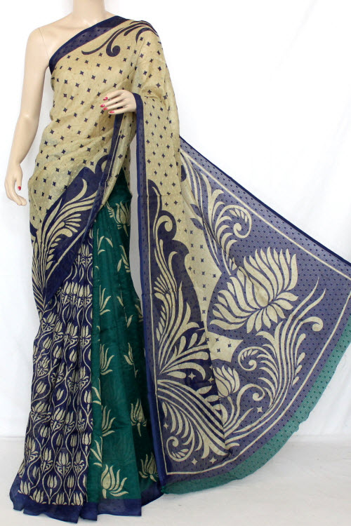 Blue - Sea Green Exclusive Manipuri Check Printed Art Silk Saree (With Blouse) 13320