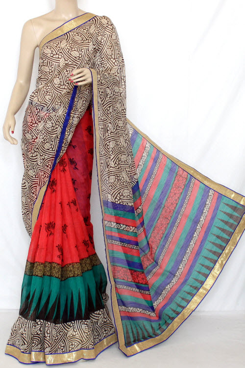 Red - Blue Designer Cotton Taspa Half-Half Printed Saree (With Blouse) 13325
