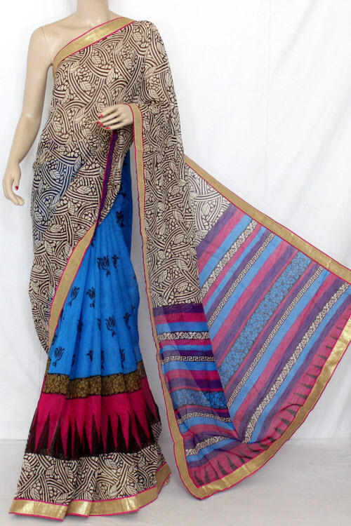 Pherozi - Purple Designer Cotton Taspa Half-Half Printed Saree (With Blouse) 13326