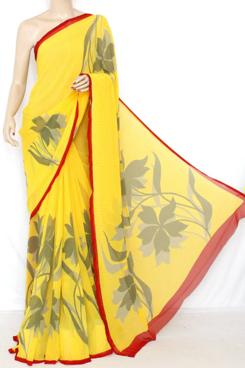 Yellow Printed Fine Quality Georgette Saree (With Contrast Blouse) 13334