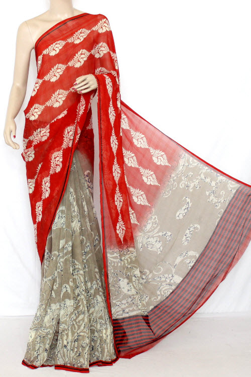Fawn - Red Printed Fine Quality Georgette Saree (With Contrast Blouse) 13336