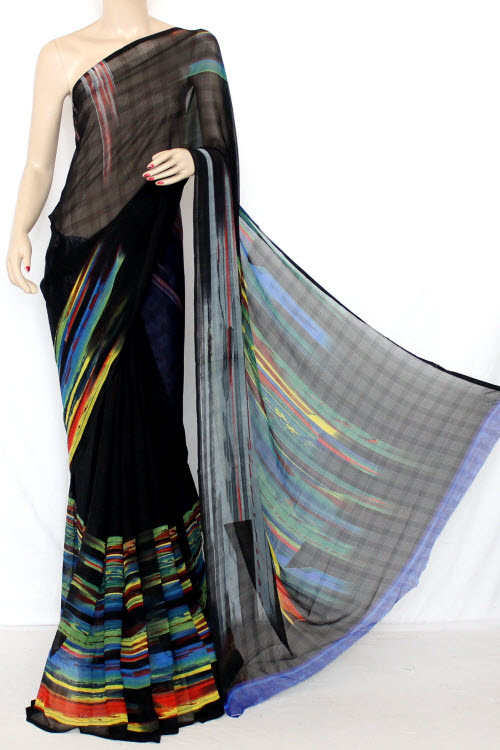 Black Printed Fine Quality Georgette Saree (With Contrast Blouse) 13337