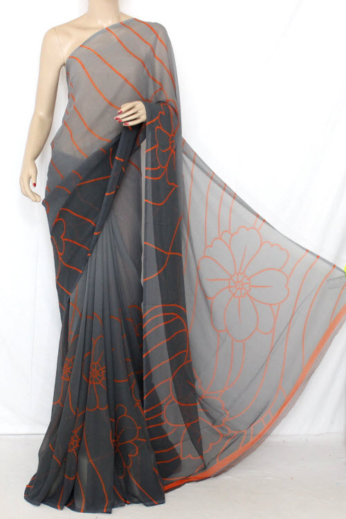 Shaded Grey Printed Dx Quality Faux Georgette Saree (Satin Border With Blouse) 13340