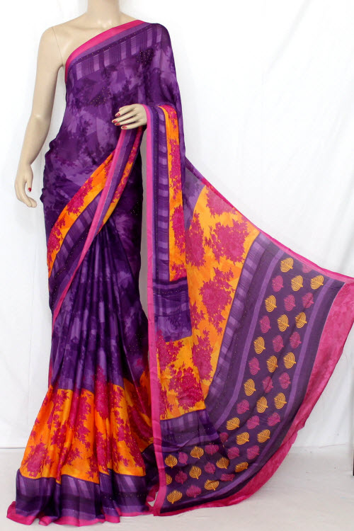 Purple-Orange Printed Faux Georgette Saree (With Blouse) 13343