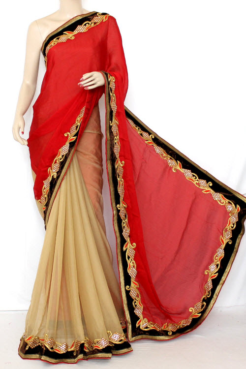 Fawn & Maroon Half-Half Embroidered Saree Georgette Fabric (With attached Blouse) 13348